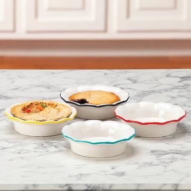 Ceramic Individual Pie Pans, Set of 4
