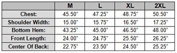 Patch Leather Vest Size Chart