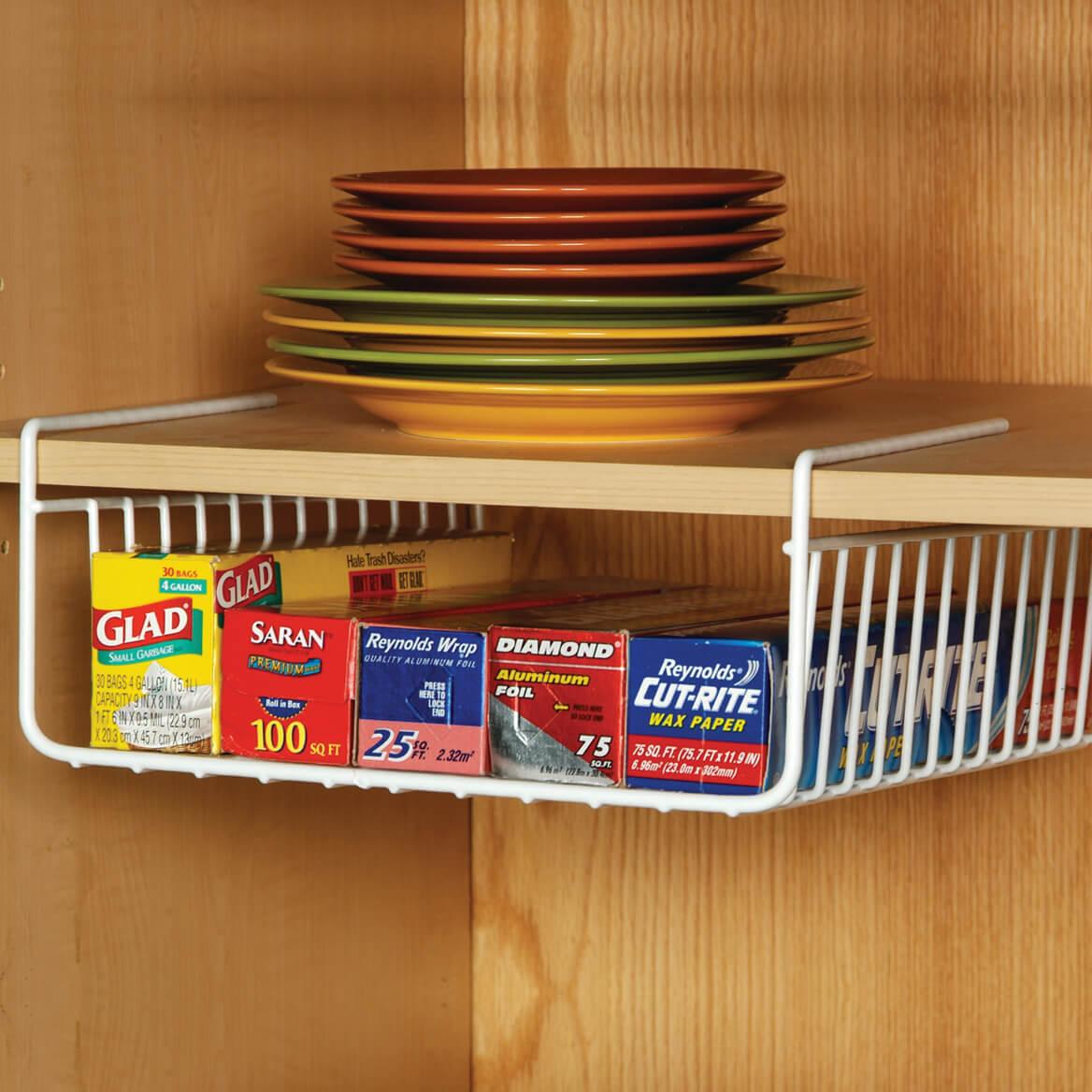 Kitchen wrap holder plastic wrap storage walter drake for Under shelf basket wrap rack