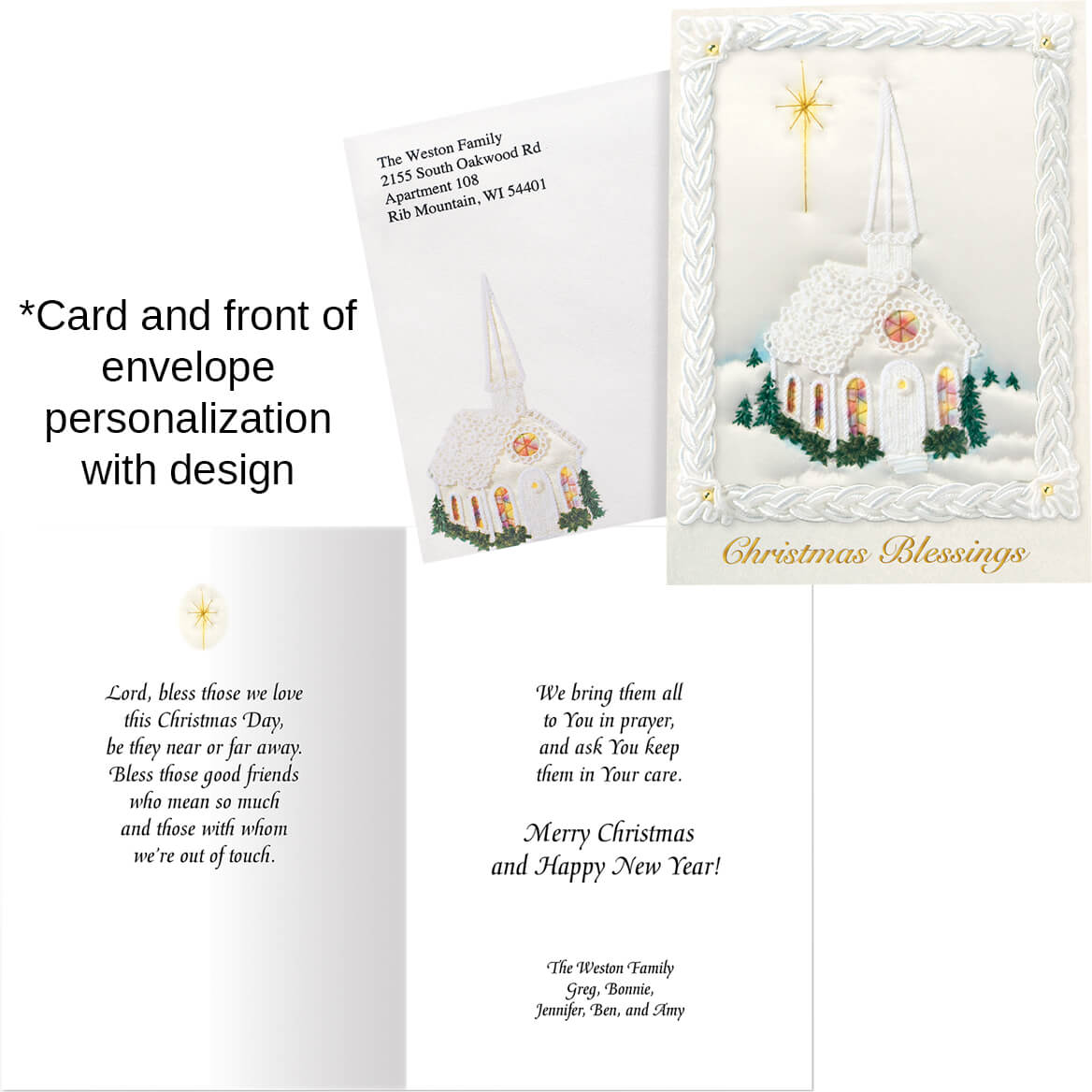 Personalized Satin Chapel Christmas Card Set of 20 - Walter Drake