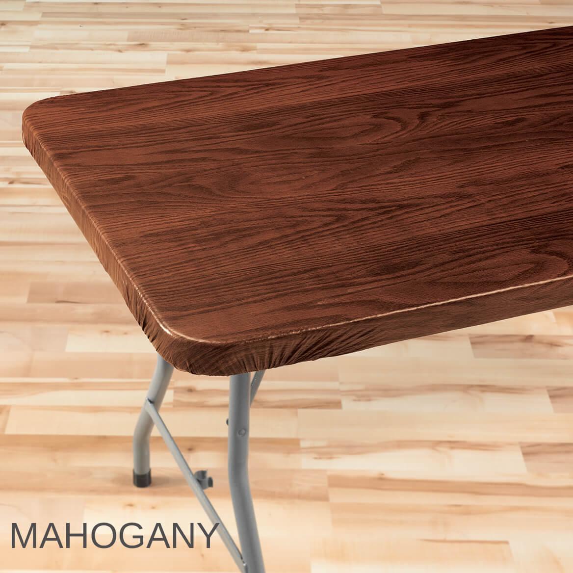 Wood Grain Elasticized Table Cover
