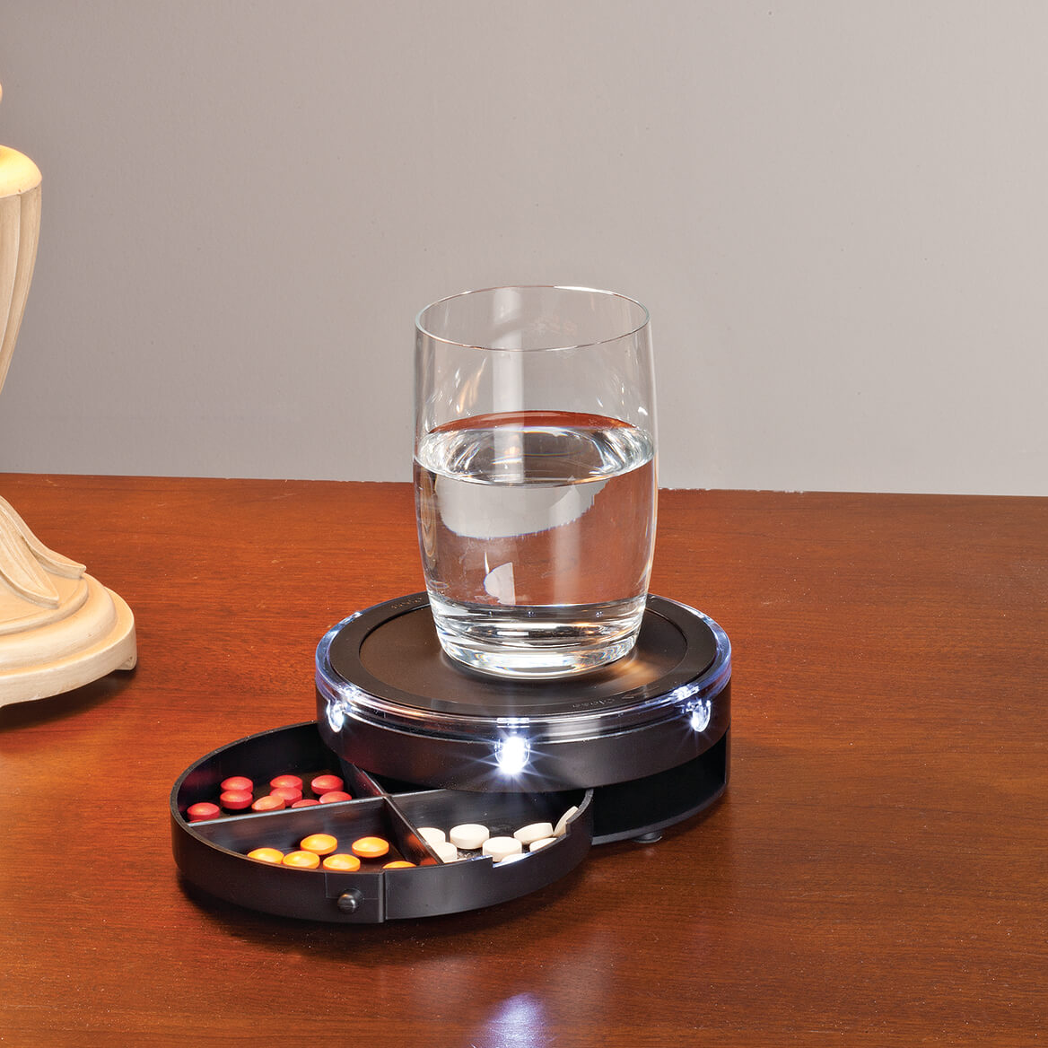 LED Nightstand Caddy with Pill Storage-353018