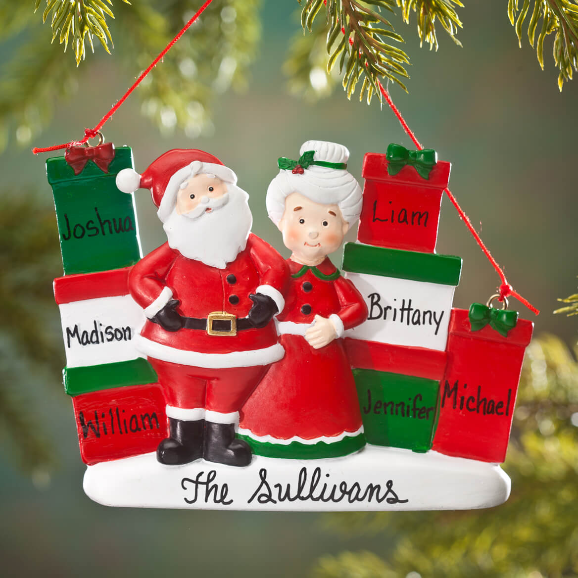 Personalized Mr. and Mrs. Claus with Presents Ornament-353257