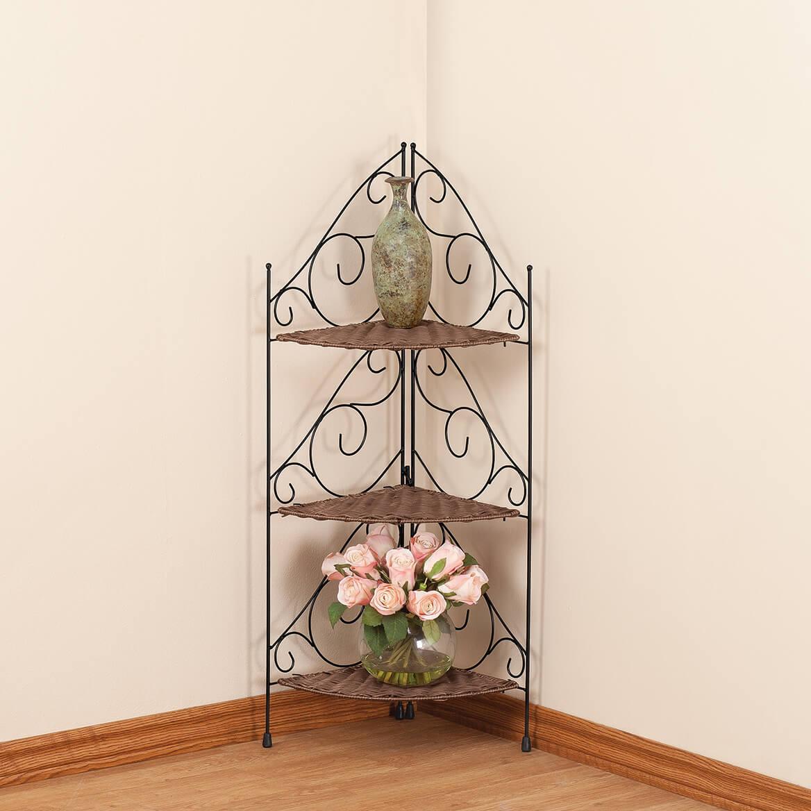Three Tier Wicker Metal Corner Shelves By OakRidge