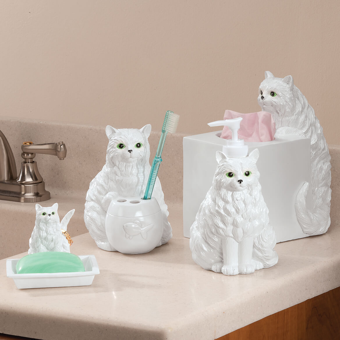 Playful Cat Bathroom Accessories Set Of 4 Soap Dish Walter Drake