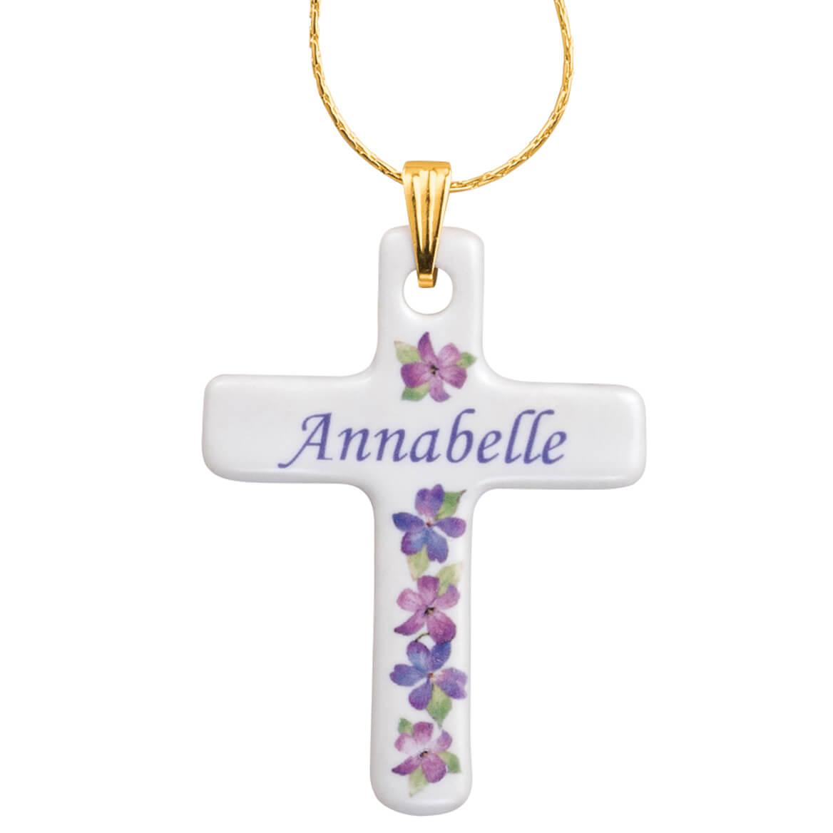 Personalized Porcelain Cross Pendant-355896