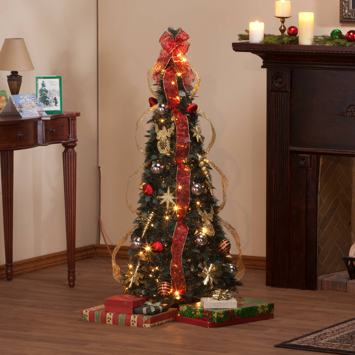 4 foot fully decorated red gold pull up tree by northwoods - Pull Up Fully Decorated Christmas Tree