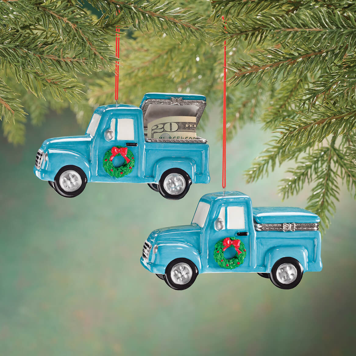Vintage Truck with Tree Ornament Trinket Box-356327
