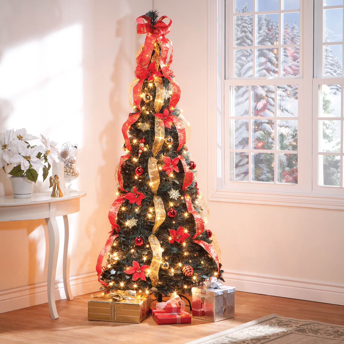 7-Ft. Pull-Up Fully Decorated Pre-Lit Poinsettia Tree ...