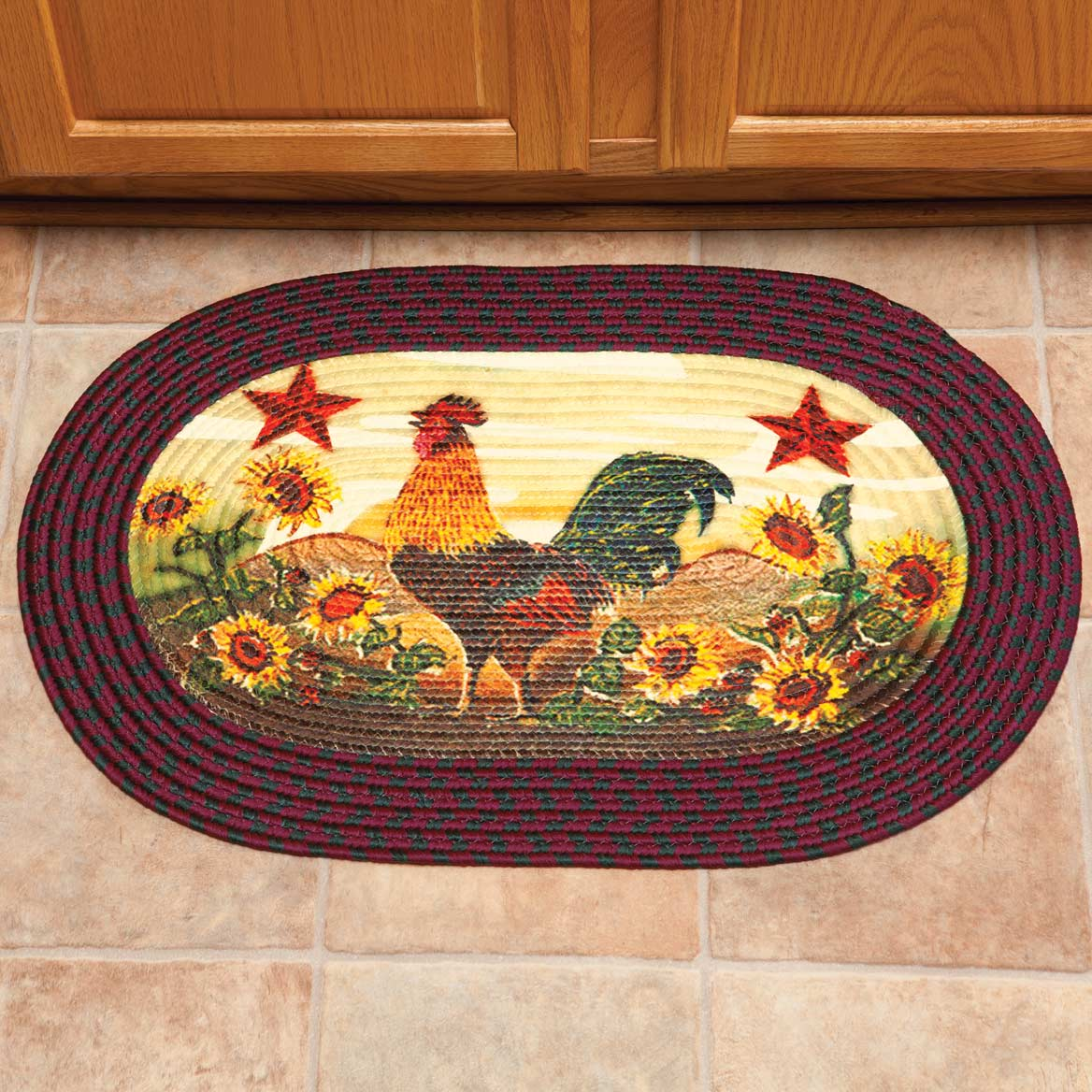 Rooster In Sunflowers Braided Rug By Oakridge Indoor Rugs Walter