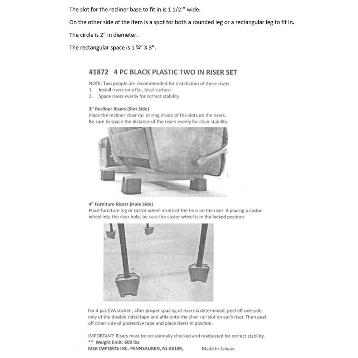 Recliner Risers, Set of 4-359614