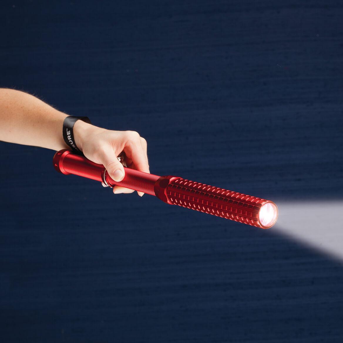 "Flashlight Baton by LivingSURE Personal Defense /& Flashlight RED Color 14/"" Long"