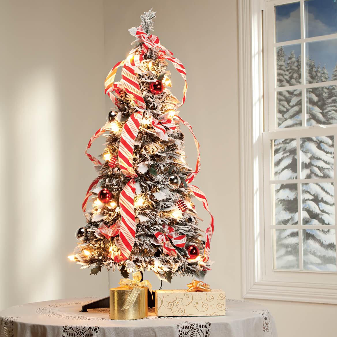Pull Up Decorated Christmas Tree: 3-Ft. Candy Cane Frosted Pull-Up Tree