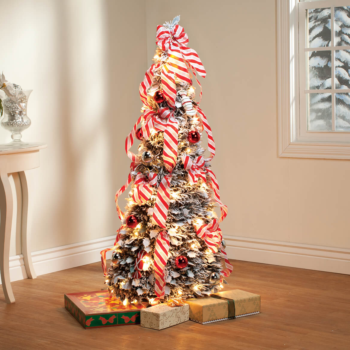4-Ft. Candy Cane Frosted Pull-Up Tree - Christmas Trees ...