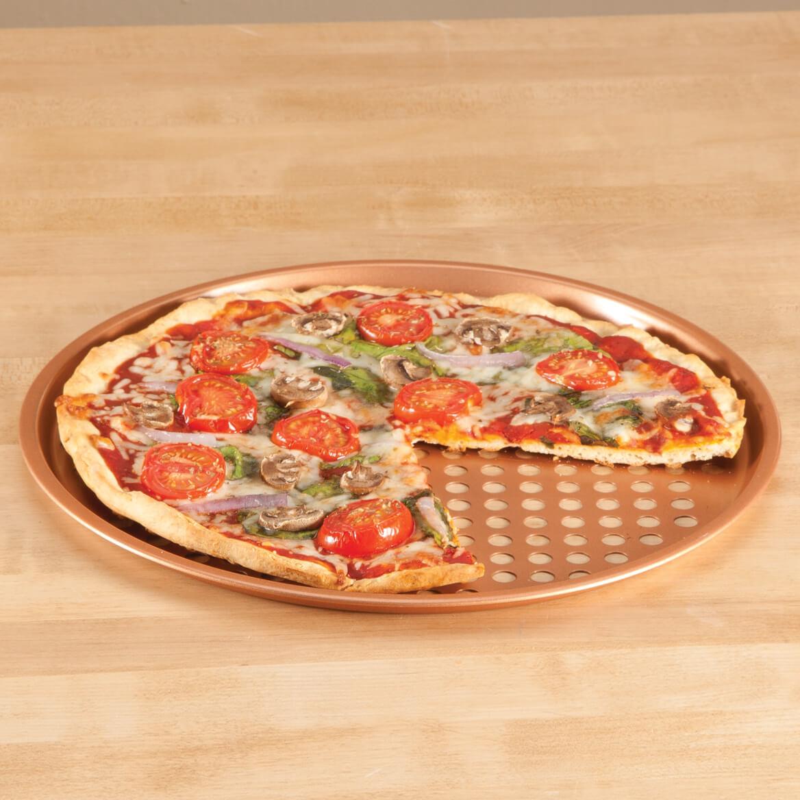 "12 1/2"" Ceramic Copper Pizza Pan-360742"