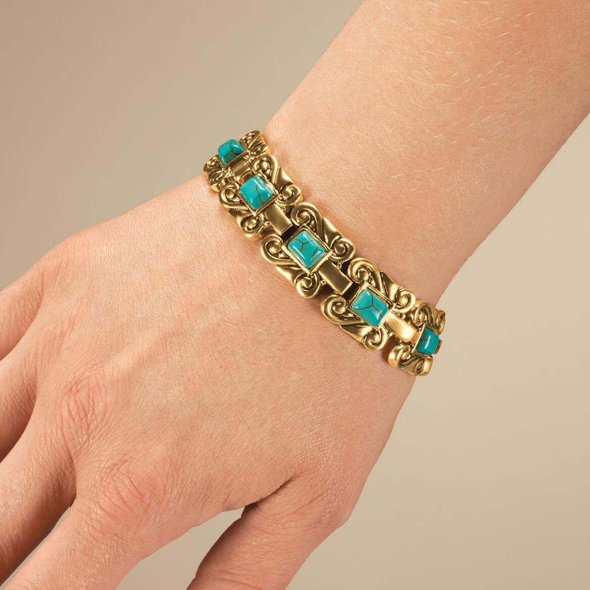 Goldtone Magnetic Turquoise Bracelet-361270