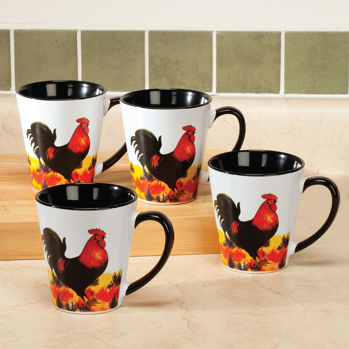8 oz Rooster Mugs Set of 4-361968