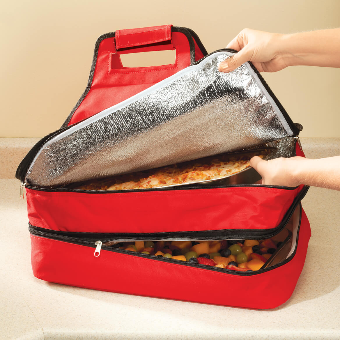 Double Decker Insulated Food Travel Tote-361976