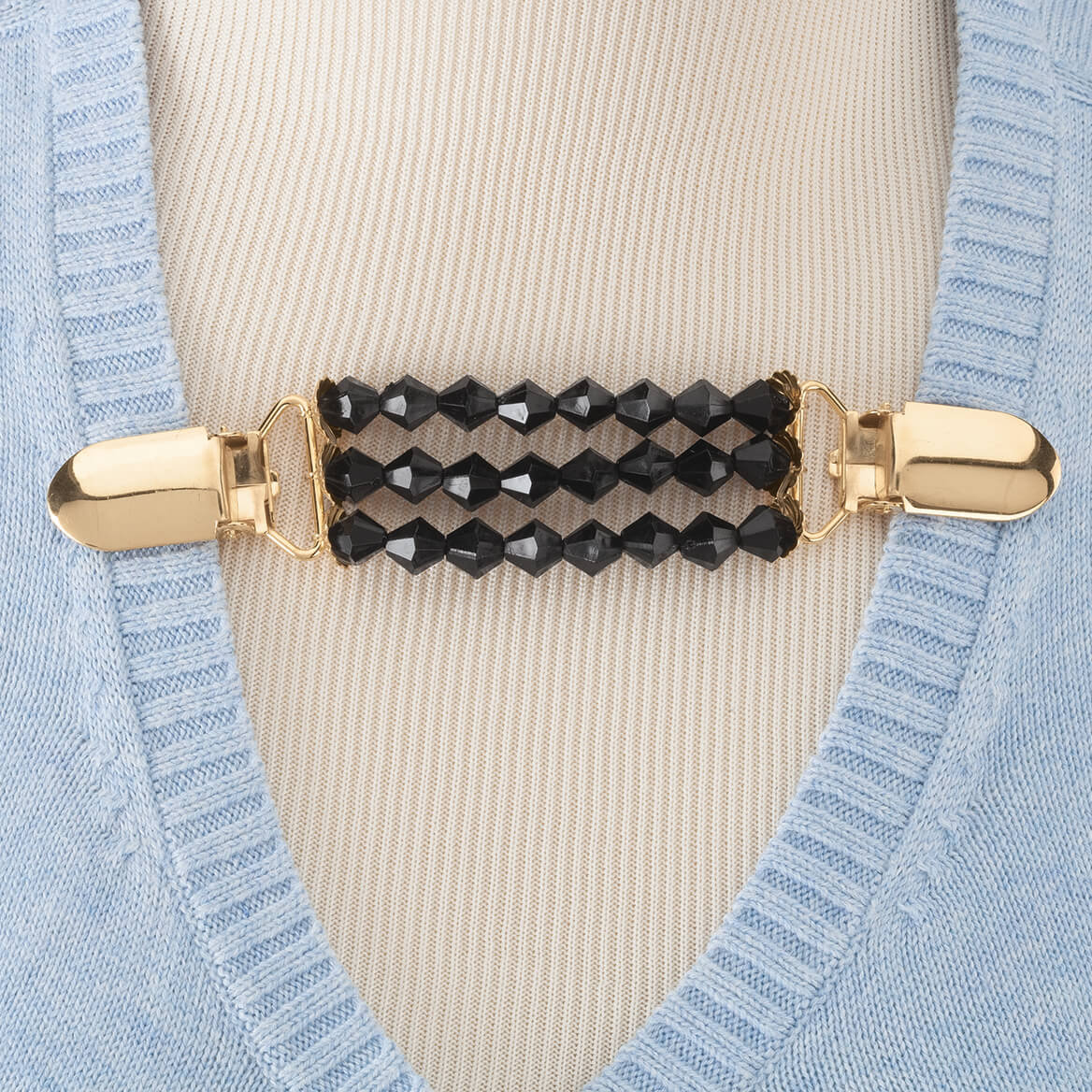 Black Beaded Sweater Clip-362017