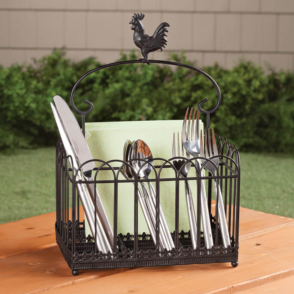 Rooster Metal Flatware Caddie-362375