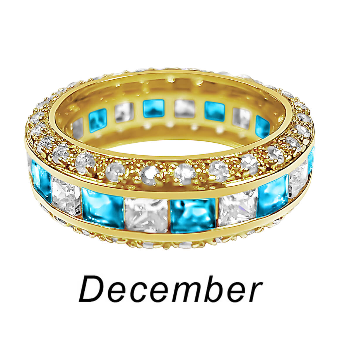 Birthstone and CZ Gold Plated Ring-362420