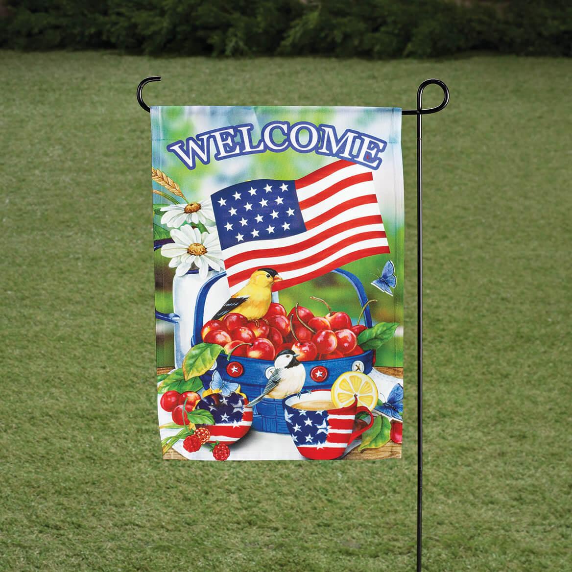 Welcome Americana Cherries and Birds Garden Flag-362560