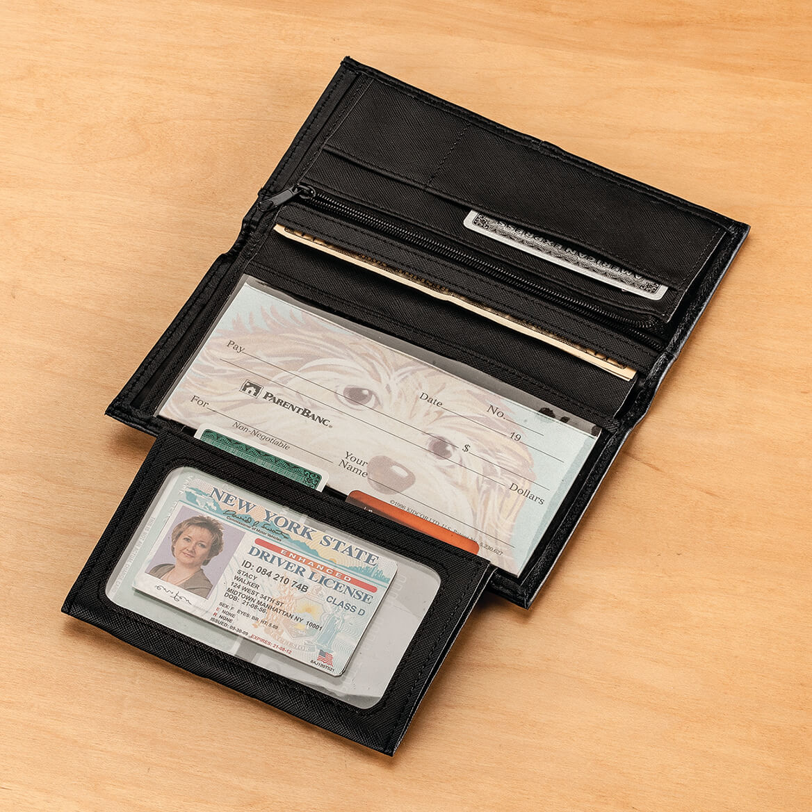 RFID Leather Checkbook Wallet-362915