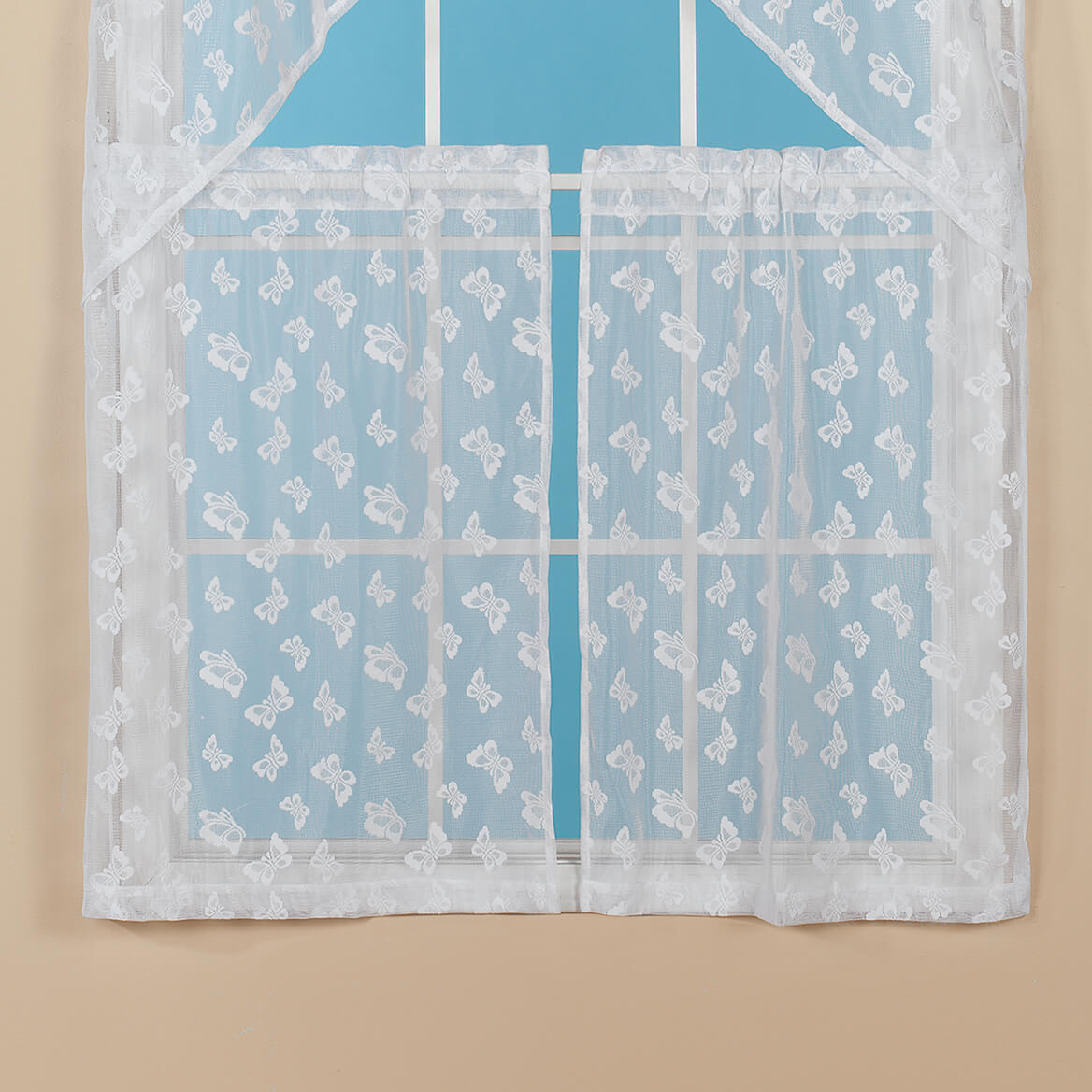 Butterfly Lace Café Kitchen Tier - Butterfly curtains - Walter Drake