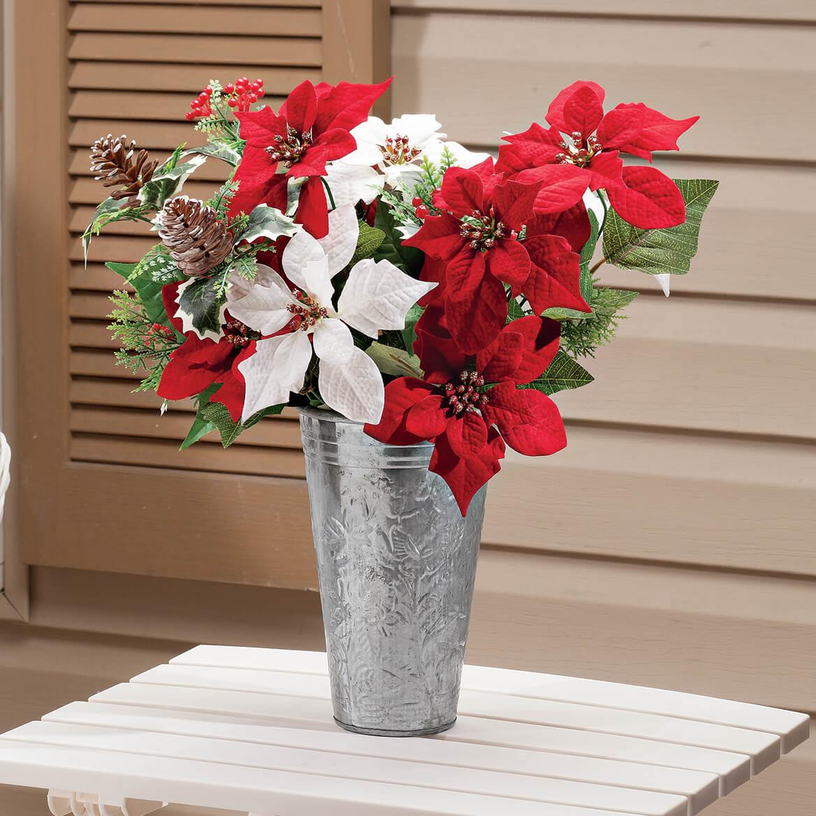 "21"" Poinsettia & Pinecone Bush by OakRidge™-363451"