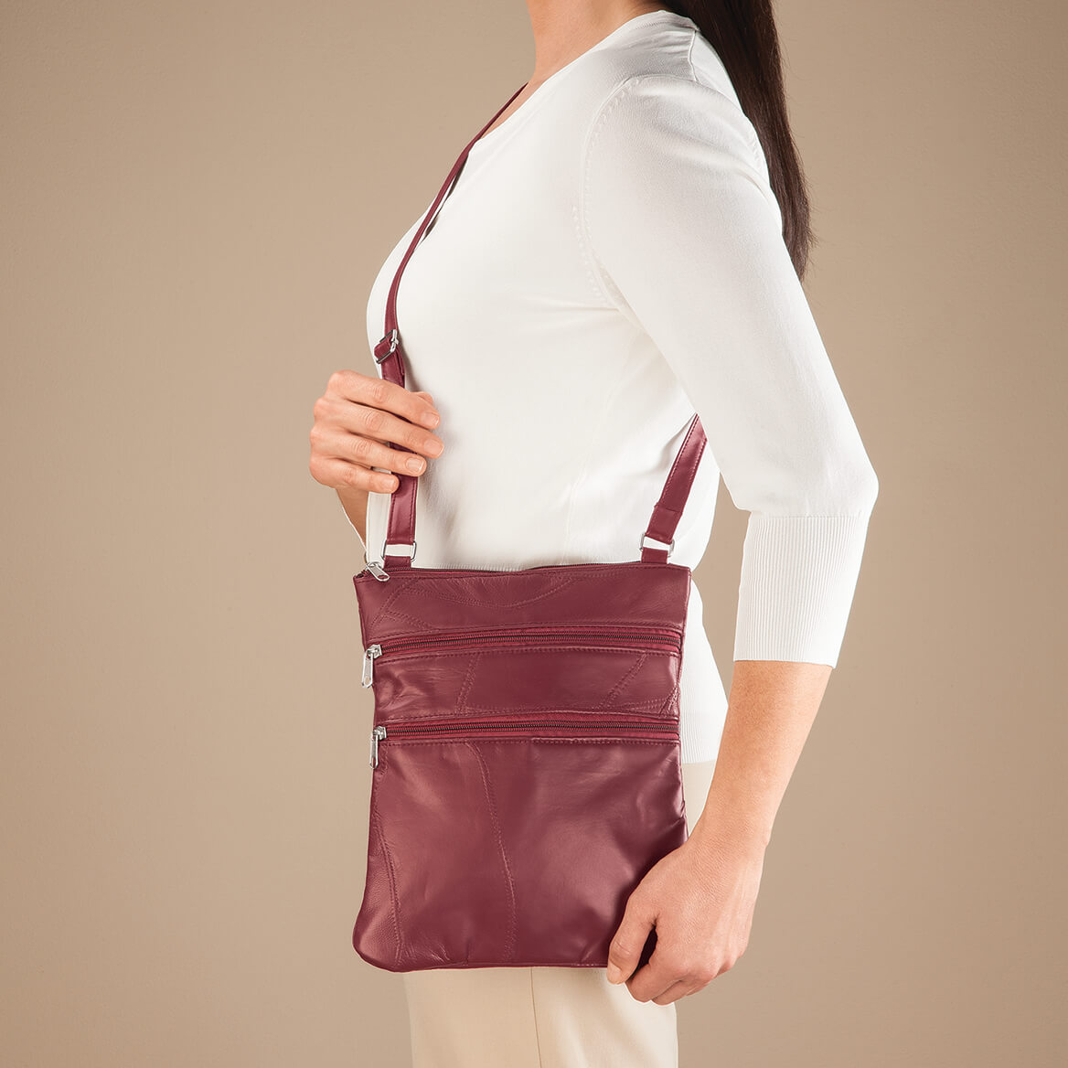RFID Lambskin Patch Leather Crossbody Bag-363493