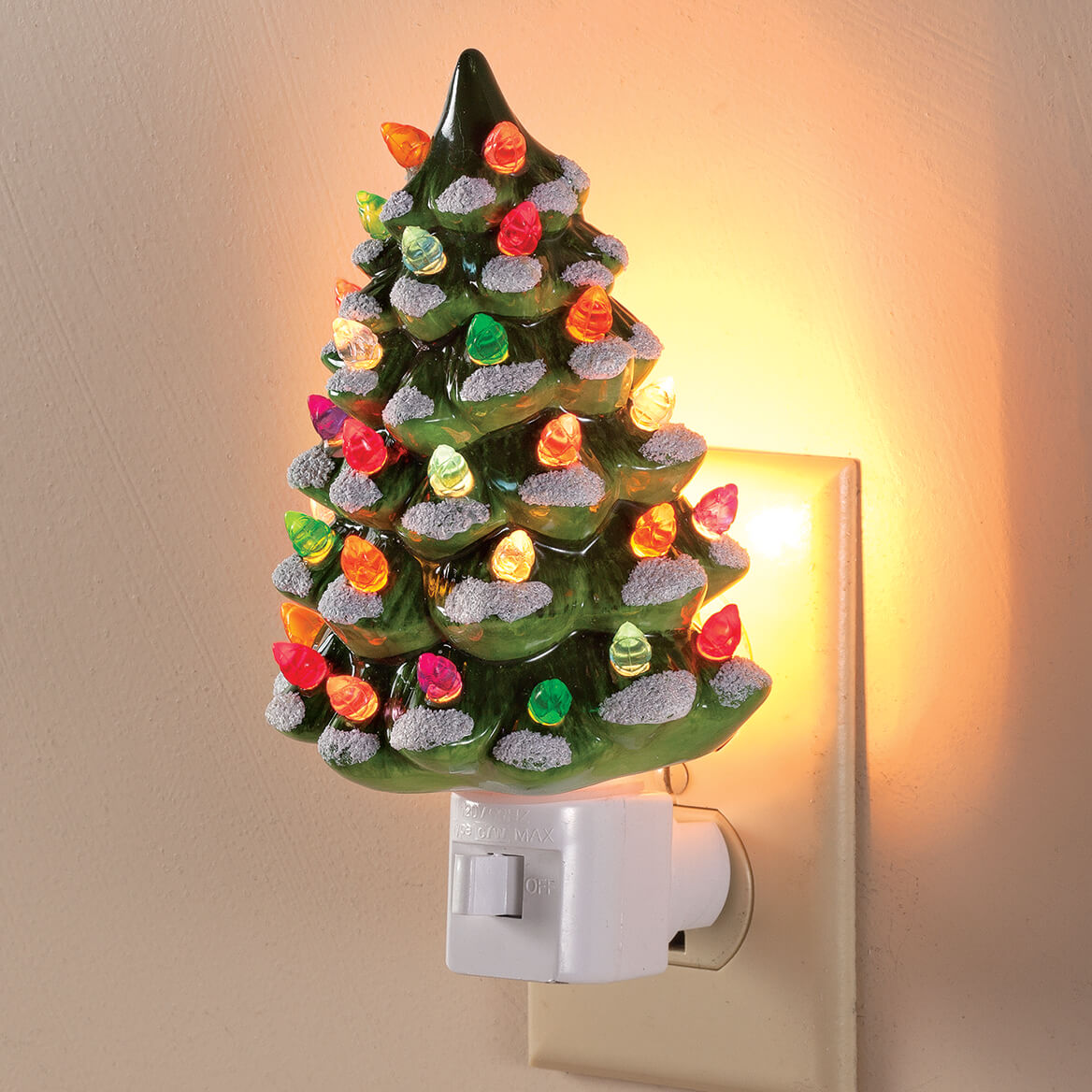 green and white ceramic tree night lights set of 2 364073