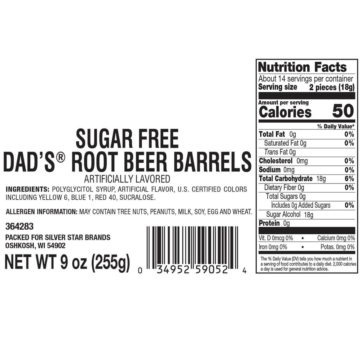 Sugar-Free Dad's® Rootbeer Barrels, 9 oz.-364283