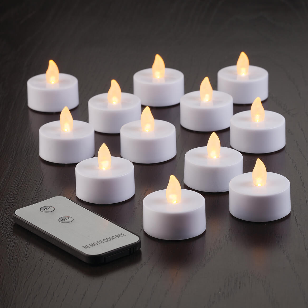 Tea Lights with Remote Control, Set of 12-364533