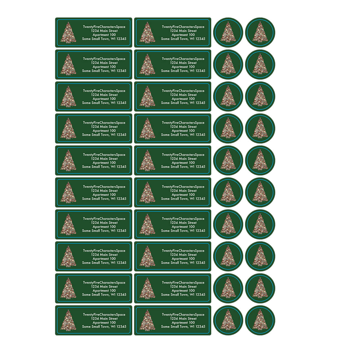 Personalized Glittering Tree Address Labels & Seal 20-364772