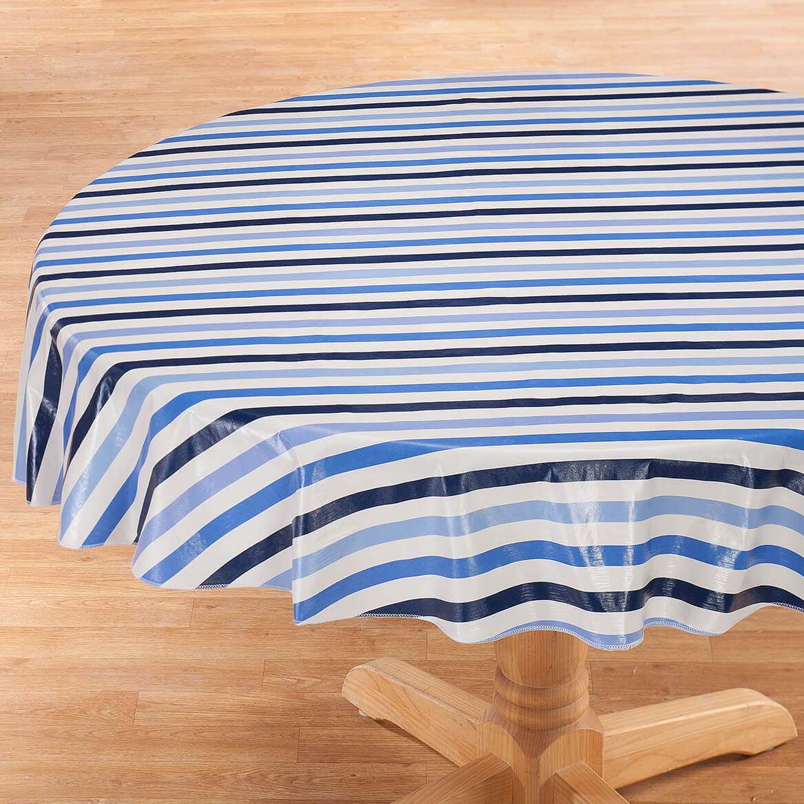 Blue Stripe Vinyl Tablecover by Home-Style Kitchen™-367200