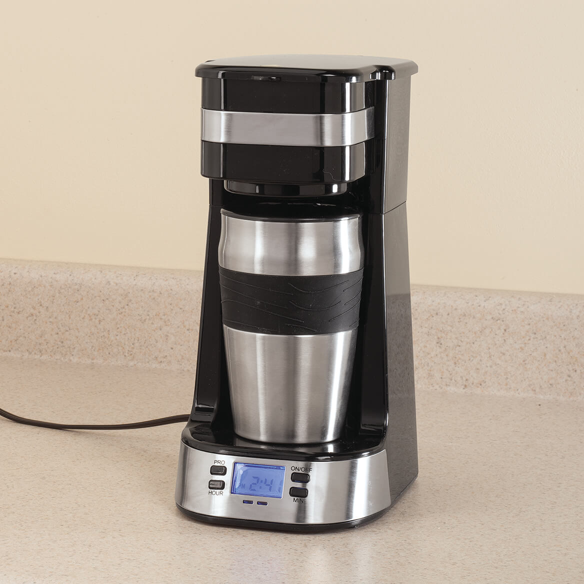 Programmable Single Cup Coffee Maker with Travel Cup by HMP-367508