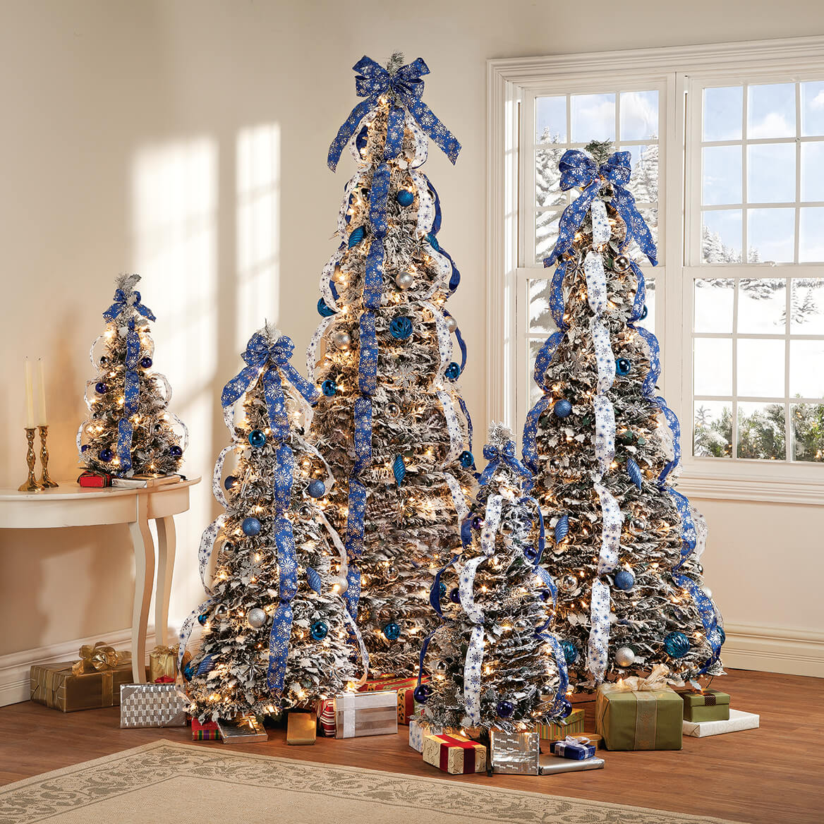 7' Snow Frosted Winter Style Pull-Up Tree by Hoilday Peak™-367933