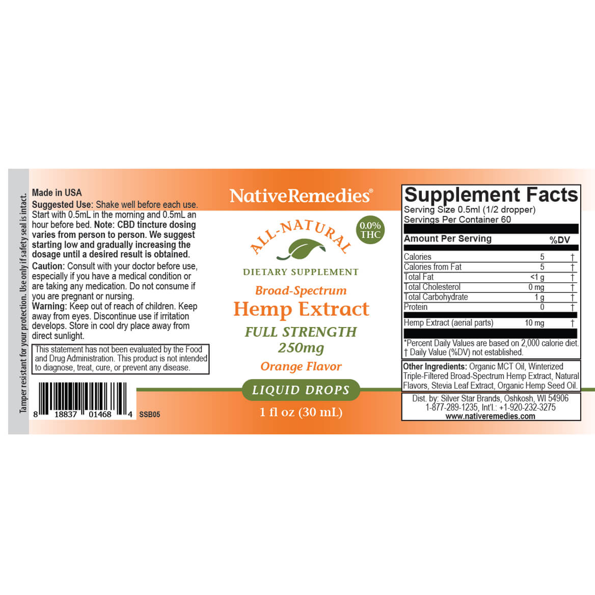 NativeRemedies® Full-Strength Hemp Extract 250 mg-367949