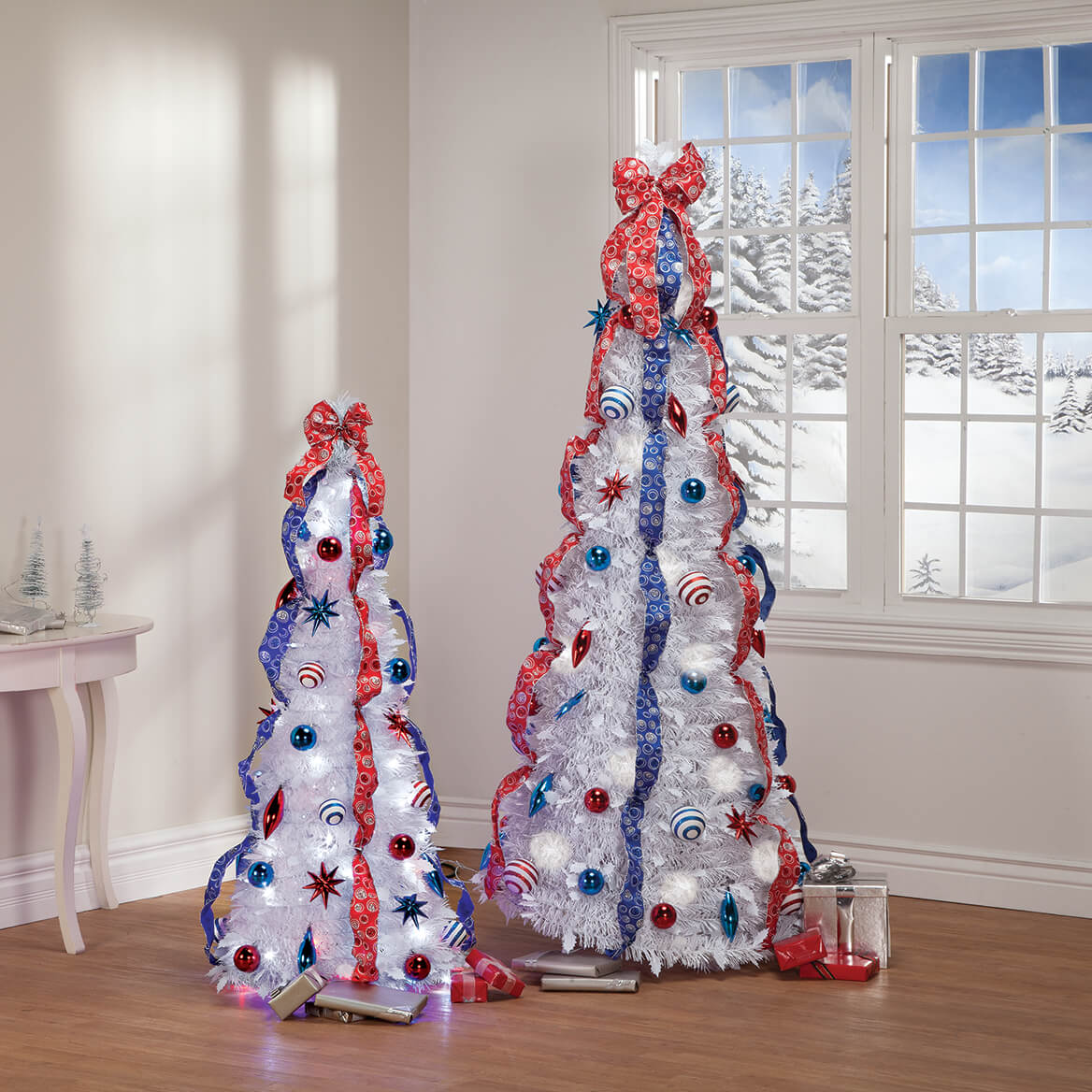 4' Patriotic Pull-Up Tree with LED Lights by Holiday Peak™-368063