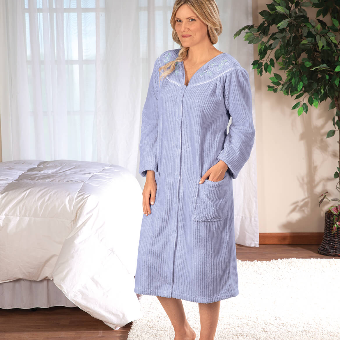 Snap Front Embroidered Robe  by Sawyer Creek-368089