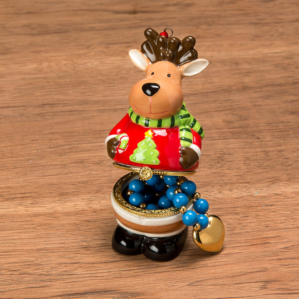 Reindeer in Sweater Ornament Trinket Box-368108