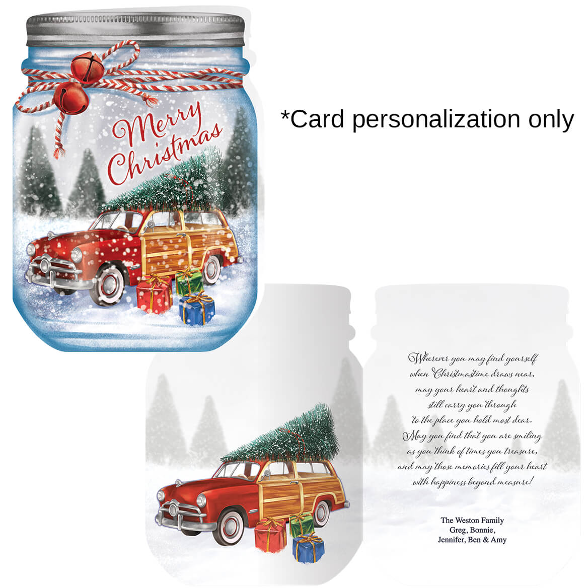 Merry Mason Jar Christmas Card Set of 20-368226