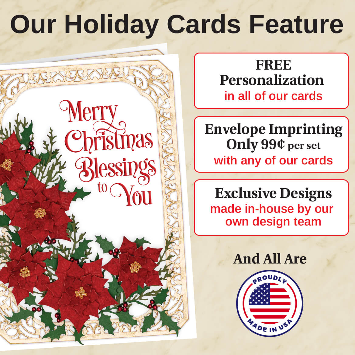 Personalized Embroidered Chapel Christmas Card Set of 20-368249
