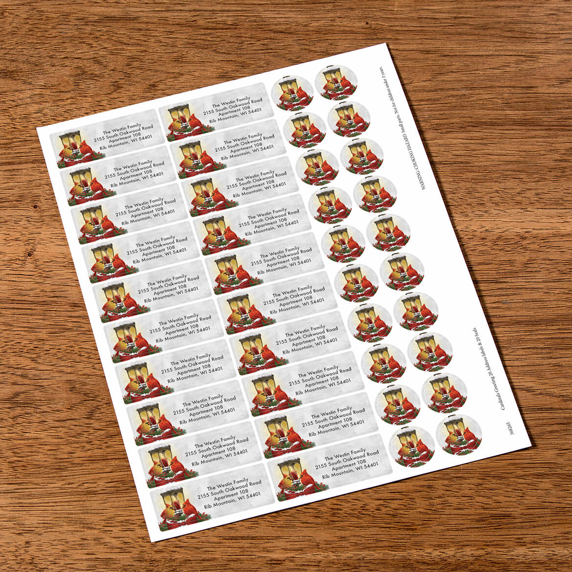Personalized Cardinals Greeting Labels & Seals 20-368265