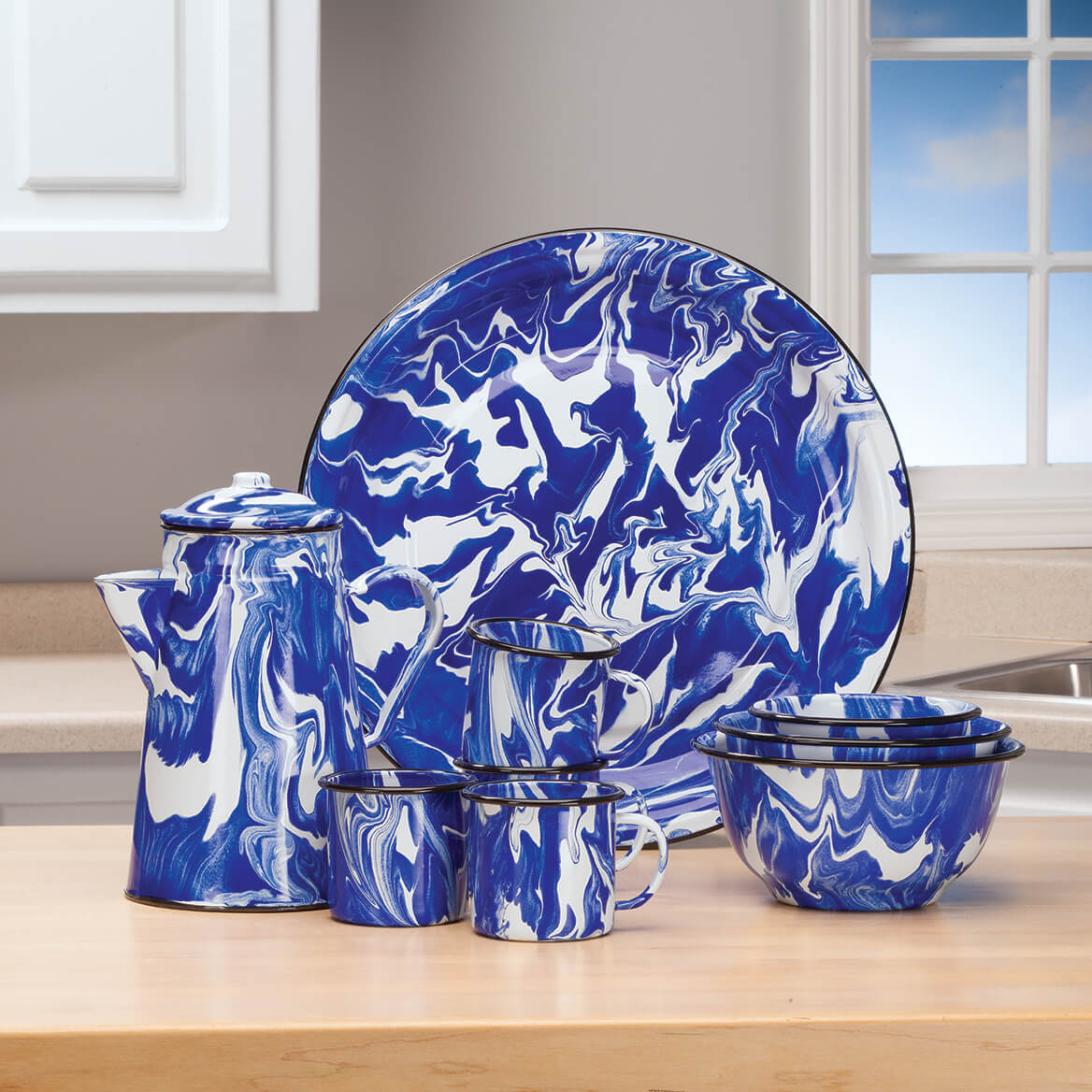 """Blue Marble Enamelware 16"""" Platter by Home Marketplace-368313"""