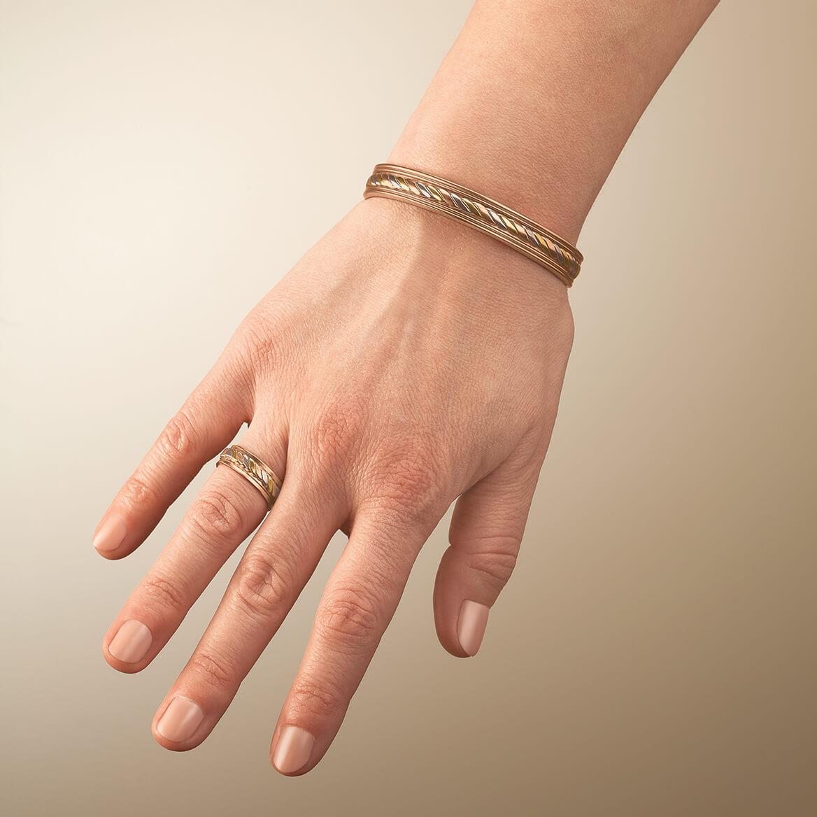 Copper Tritone Magnetic Cuff and Ring Set-368393