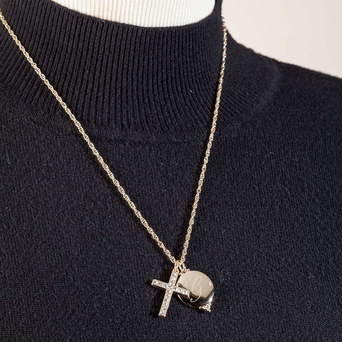 Personalized Pave Crystal Cross Necklace-368489