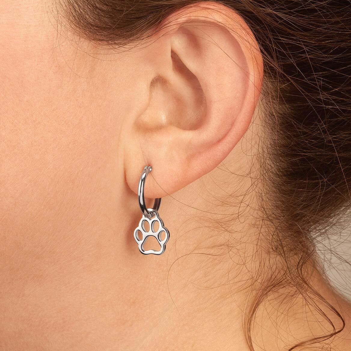 Paw Print Charm on Hoop Earrings-368669