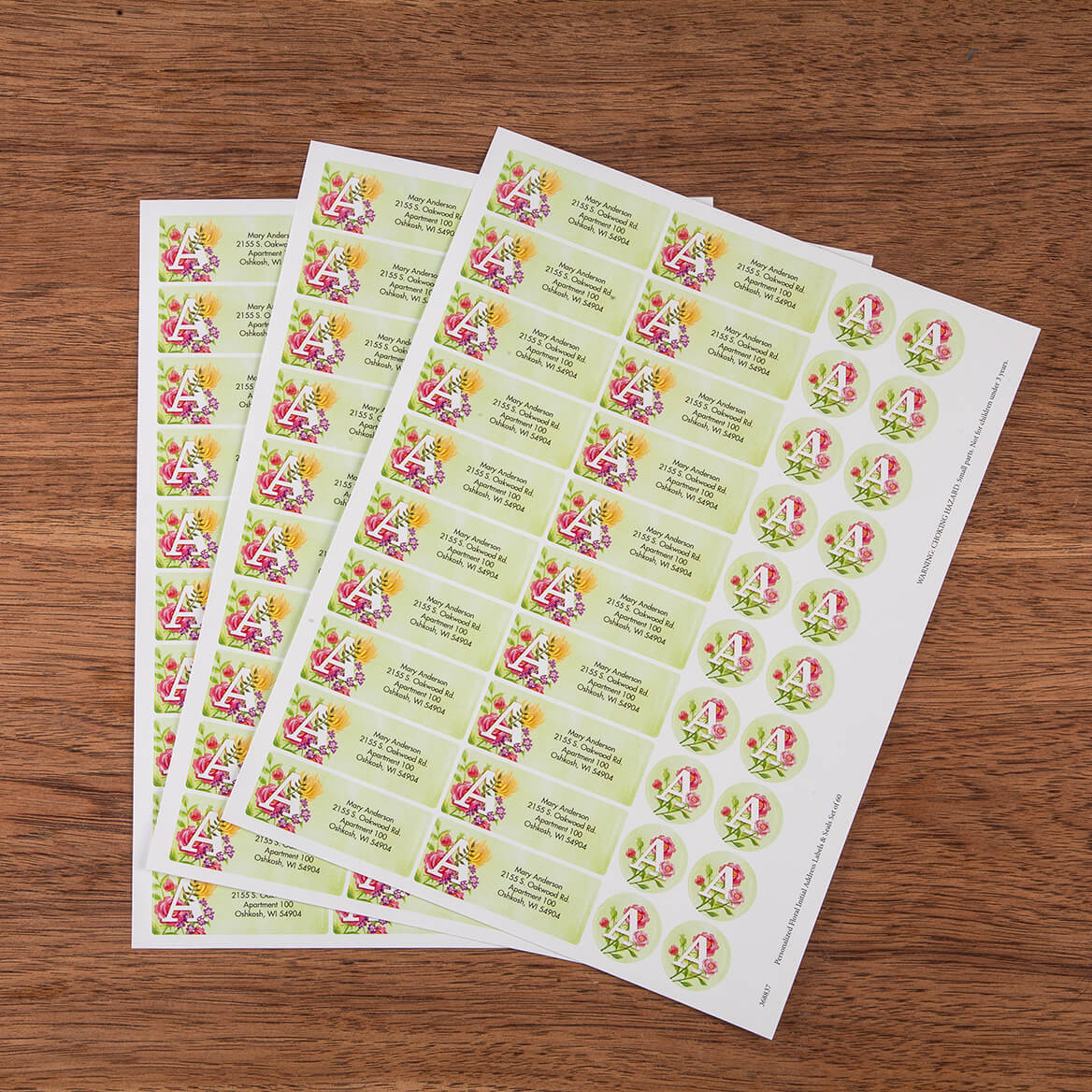 Personalized Floral Initial Address Labels & Seals Set of 60-368837