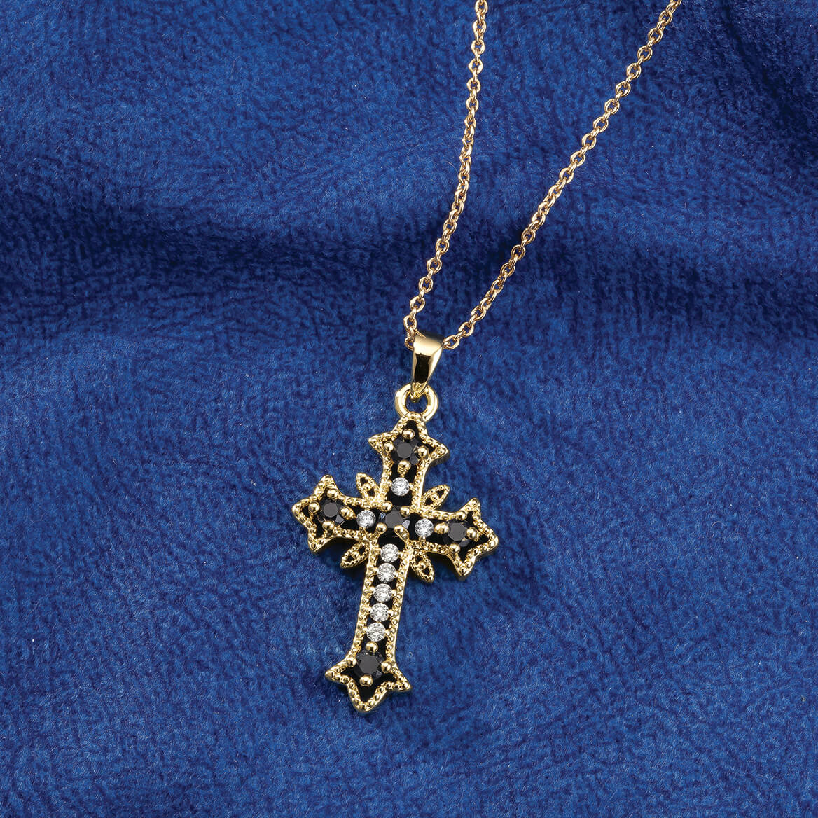 Gold and Black Cross Necklace-369318